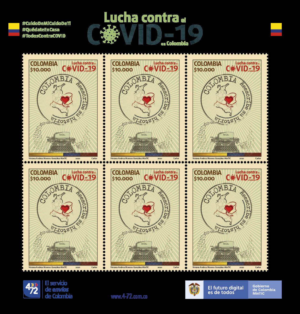 LUCHA CONTRA EL COVID-19 EN COLOMBIA Hoja de 6 estampillas